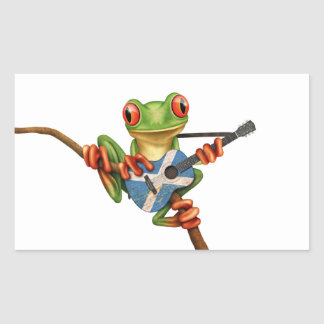 Tree Frog Playing Scottish Flag Guitar White Rectangle Sticker
