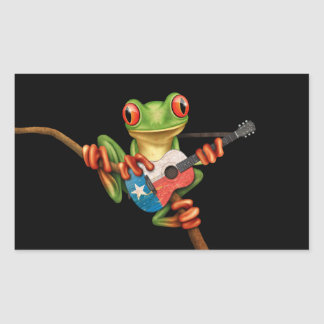 Tree Frog Playing Texas Flag Guitar Black Rectangle Stickers