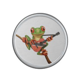 Tree Frog Playing Trinidad and Tobago Guitar White Speaker