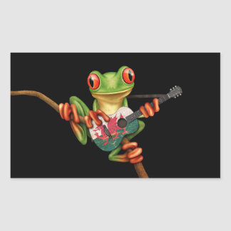 Tree Frog Playing Welsh Flag Guitar Black Rectangle Sticker