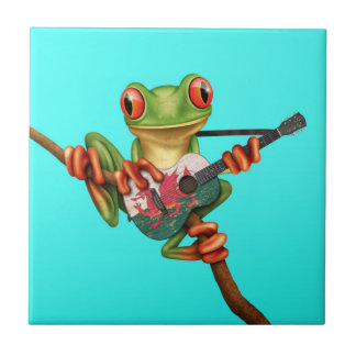 Tree Frog Playing Welsh Flag Guitar Blue Small Square Tile