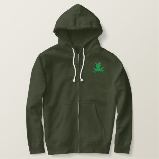 tree frog pocket and back embroidered hoodie