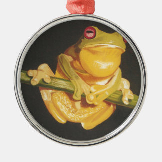 Tree Frog Silver-Colored Round Decoration