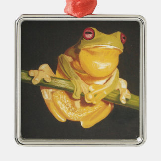 Tree Frog Silver-Colored Square Decoration