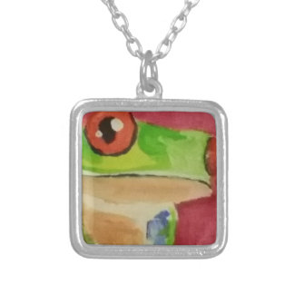 Tree Frog Square Pendant Necklace