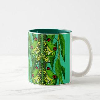 TREE FROGS - GREEN Two-Tone MUG