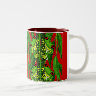 TREE FROGS - RED Two-Tone MUG
