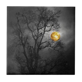 Tree full of ravens with a full moon. ceramic tile