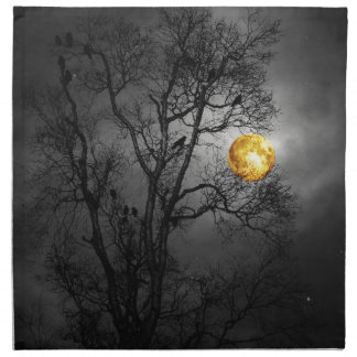 Tree full of ravens with a full moon. napkin