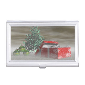 tree green and gifts and balls business card holder