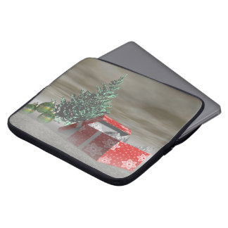 tree green and gifts and balls laptop sleeve