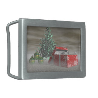 tree green and gifts and balls rectangular belt buckle