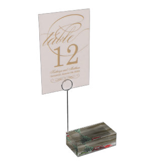 tree green and gifts and balls table number holder