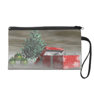 tree green and gifts and balls wristlet