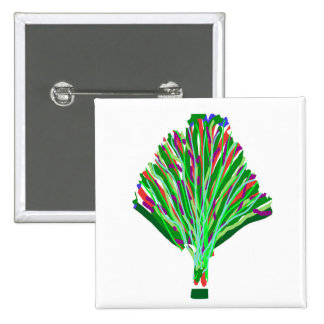 TREE Green Plant Artistic Party Giveaway Novelty 15 Cm Square Badge