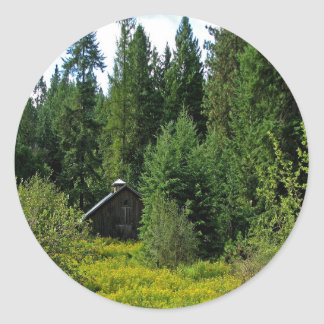 Tree Green Shack Round Stickers