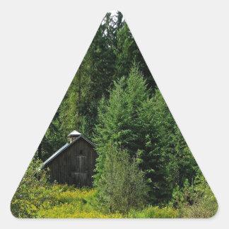Tree Green Shack Triangle Sticker
