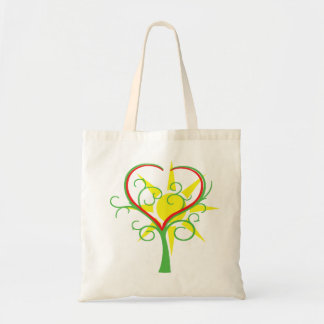 Tree, heart and sun tote bag