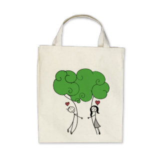 Tree Hugger Grocery Tote Canvas Bag