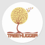 Tree Hugger Tree Hearts Round Stickers