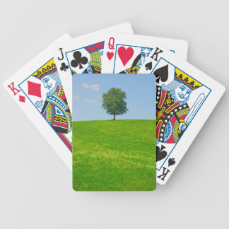 Tree in  a field bicycle playing cards