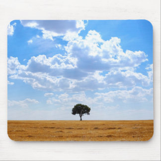 Tree in an harvested wheat field mouse pad