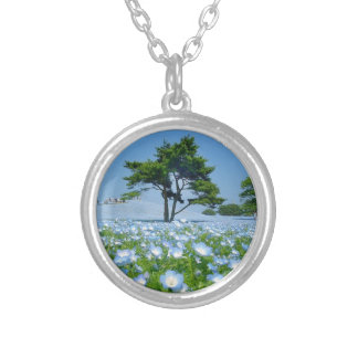 Tree in blue floral field necklaces