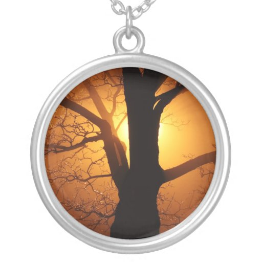 Tree In Fog At Night Necklace