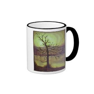 Tree In Gold Coffee Mug  With Black Trim