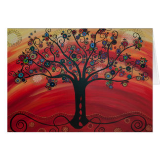 Tree in Rouge by CatherineHayesArt Greeting Cards