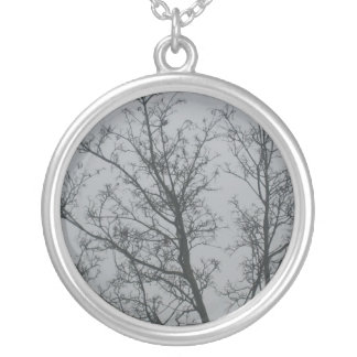 Tree in the fog silver plated necklace