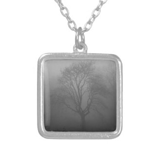 Tree in the fog square pendant necklace