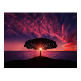 Tree in the sunset postcard