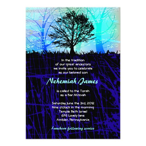 Tree in the Woods Bar Bar Mitzvah Invitation
