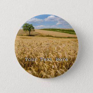 Tree In Wheat Field Landscape 6 Cm Round Badge