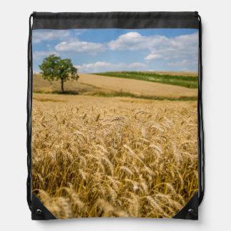 Tree In Wheat Field Landscape Drawstring Bag