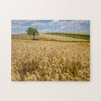 Tree In Wheat Field Landscape Jigsaw Puzzle