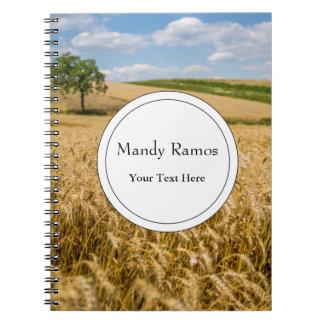 Tree In Wheat Field Landscape Note Books