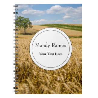 Tree In Wheat Field Landscape Notebooks