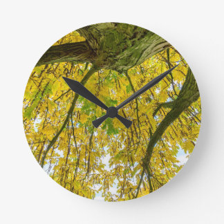 Tree leaves and branches from below in fall wallclocks