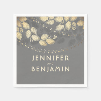 Tree Leaves and Night Lights Wedding Disposable Napkins
