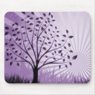 Tree Leaves Grass Silhouette & Sunburst - Purple Mouse Pad