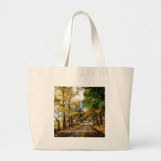 Tree Leaves On The Road Tote Bag