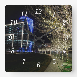Tree Lights At Klyde Warren Park Square Wall Clock
