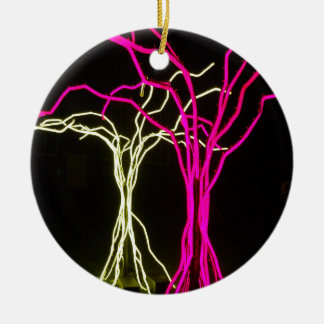 Tree Lights Round Ceramic Decoration