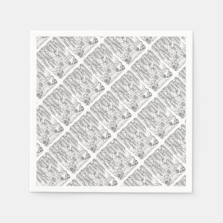 Tree Line Art Design Paper Napkins