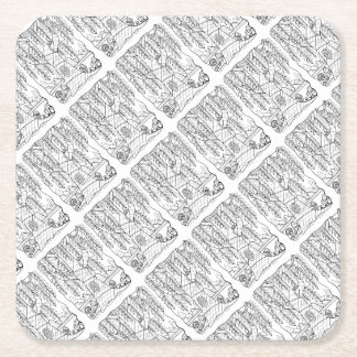 Tree Line Art Design Square Paper Coaster
