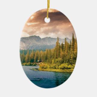 tree line in the wilderness ceramic ornament