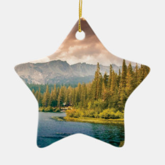 tree line in the wilderness ceramic ornament