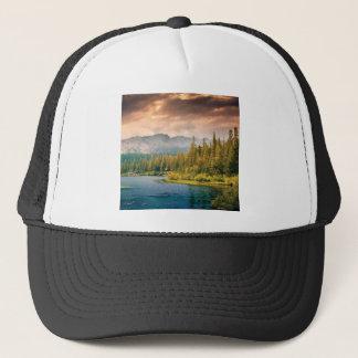 tree line in the wilderness trucker hat